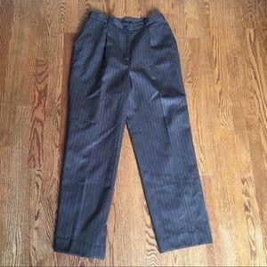 Jones New York Brown Wool Pinstriped Pants